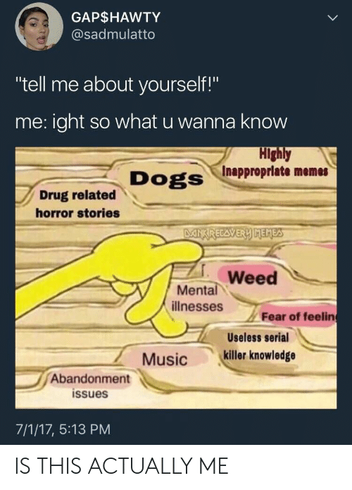 "Inappropriate Memes: GAP$HAWTY  @sadmulatto  ""tell me about yourself!""  me:ight so what u wanna know  Highly  Inappropriate memes  Dogs  Drug related  horror stories  DANXRECAVERY MEMES  Weed  Mental  illnesses  Fear of feelin  Useless serial  killer knowledge  Music  Abandonment  issues  7/1/17, 5:13 PM IS THIS ACTUALLY ME"