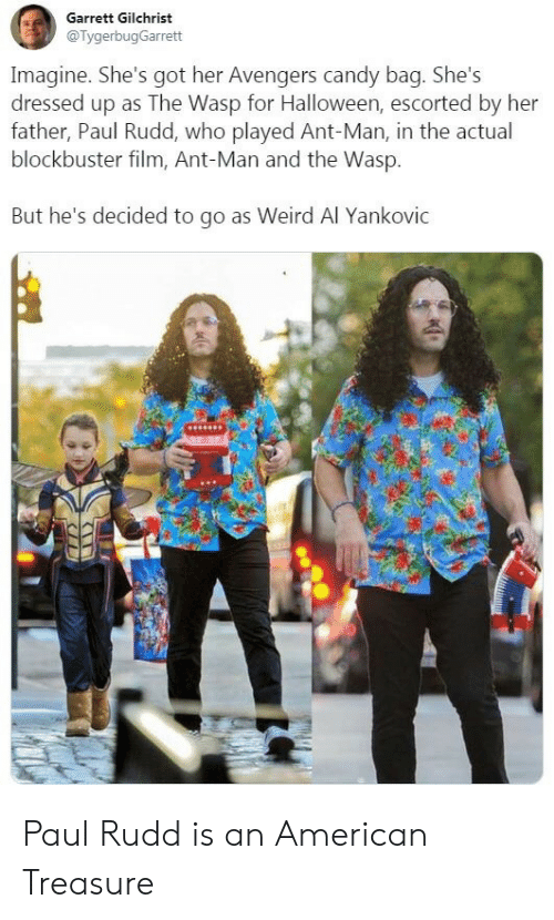 Blockbuster, Candy, and Halloween: Garrett Gilchrist  @TygerbugGarrett  Imagine. She's got her Avengers candy bag. She's  dressed up as The Wasp for Halloween, escorted by her  father, Paul Rudd, who played Ant-Man, in the actual  blockbuster film, Ant-Man and the Wasp.  But he's decided to go as Weird Al Yankovic Paul Rudd is an American Treasure