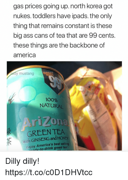 America, Anaconda, and Ass: gas prices going up.north korea got  nukes. toddlers have ipads. the only  thing that remains constant is these  big ass cans of tea that are 99 cents.  these things are the backbone of  america  dy mustang  100%  NATURAL  GREEN TEA  With GINSENG and HONEY  Enjoy America's best selling  v-to-drink green tea Dilly dilly! https://t.co/c0D1DHVtcc