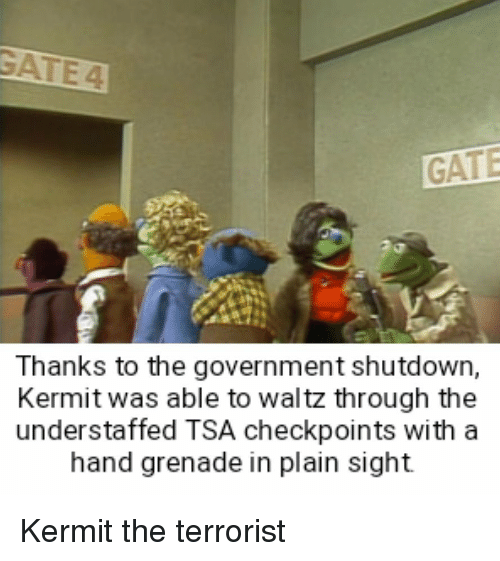 Thanks To The: GATE  Thanks to the government shutdown,  Kermit was able to waltz through the  understaffed TSA checkpoints with a  hand grenade in plain sight Kermit the terrorist