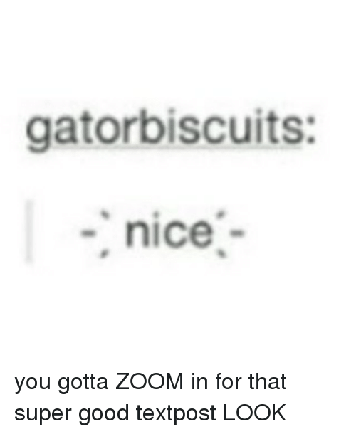 Zooming In: gatorbiscuits:  nice you gotta ZOOM in for that super good textpost LOOK