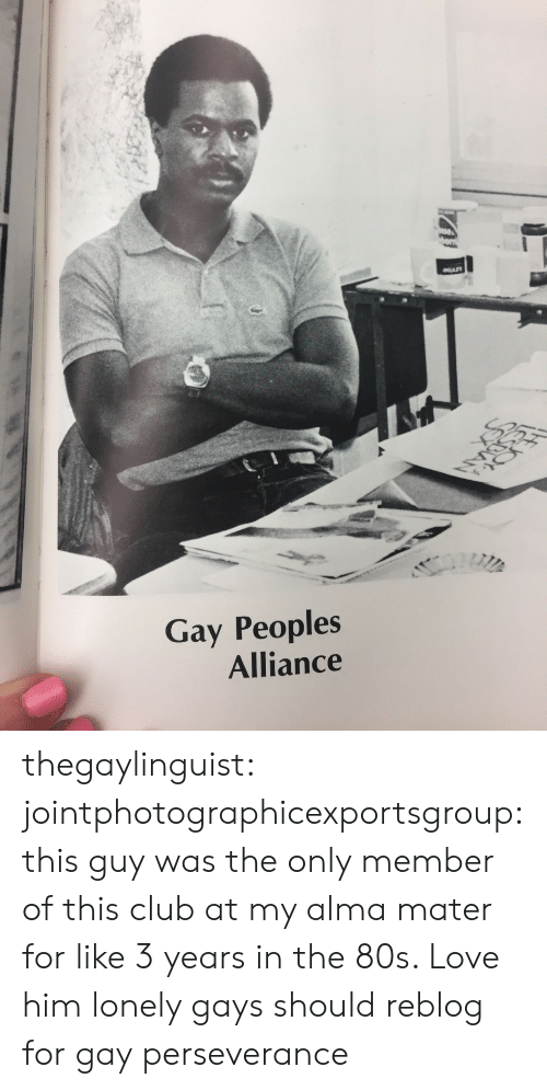 alma: Gay Peoples  Alliance thegaylinguist: jointphotographicexportsgroup: this guy was the only member of this club at my alma mater for like 3 years in the 80s. Love him  lonely gays should reblog for gay perseverance