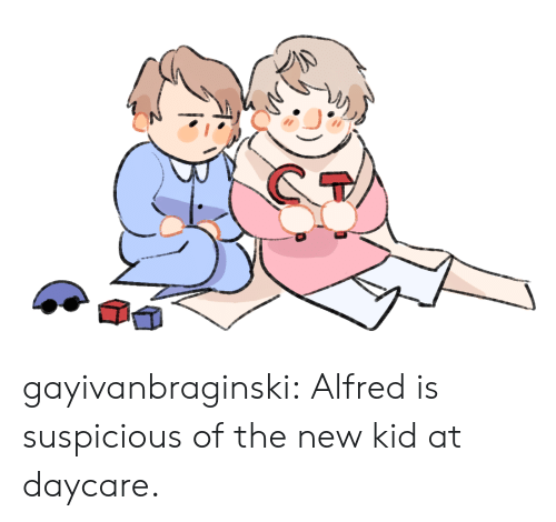 new kid: gayivanbraginski:  Alfred is suspicious of the new kid at daycare.