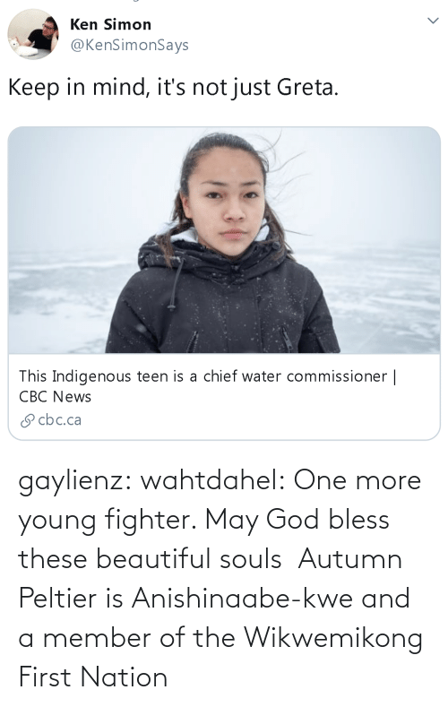 bless: gaylienz: wahtdahel:   One more young fighter. May God bless these beautiful souls   Autumn Peltier is Anishinaabe-kwe and a member of the Wikwemikong First Nation