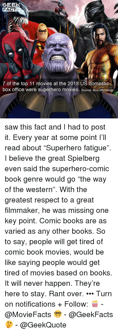"""Be Like, Books, and Memes: GEEK  FACT  7 of the top 11 movies at the 2018 US domestic  box office were superhero movies. source: BoxOfficeMojo saw this fact and I had to post it. Every year at some point I'll read about """"Superhero fatigue"""". I believe the great Spielberg even said the superhero-comic book genre would go """"the way of the western"""". With the greatest respect to a great filmmaker, he was missing one key point. Comic books are as varied as any other books. So to say, people will get tired of comic book movies, would be like saying people would get tired of movies based on books. It will never happen. They're here to stay. Rant over. ••• Turn on notifications + Follow: 🍿 - @MovieFacts 🤓 - @GeekFacts 🤔 - @GeekQuote"""