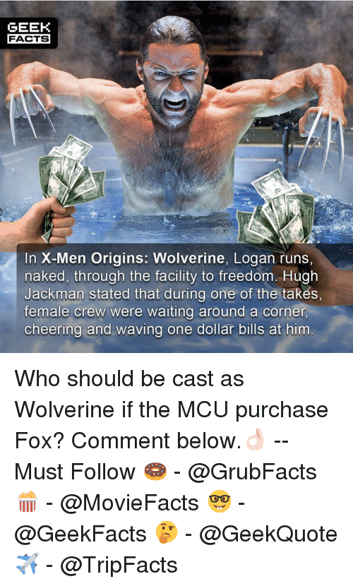 Were Waiting: GEEK  FACTS  In X-Men Origins: Wolverine, Logan runs,  naked, through the facility to freedom. Hugh  Jackman stated that during one of the takes,  female crew were waiting around a corner  cheering and waving one dollar bills at him Who should be cast as Wolverine if the MCU purchase Fox? Comment below.👌🏻 --Must Follow 🍩 - @GrubFacts 🍿 - @MovieFacts 🤓 - @GeekFacts 🤔 - @GeekQuote ✈️ - @TripFacts