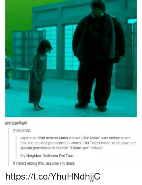 """Memes, Japanese, and Guillermo Del Toro: geekyaothairl  imiah0192  Japanese child actress Mana Ashida (little Mako) was embarrassed  that she couldn't pronounce Guillermo Del Toro's name so he gave her  special permission to call him """"Totoro-san"""" instead.  My Neighbor Guillermo Del Toro.  If I don't reblog this, assume I'm dead https://t.co/YhuHNdhjjC"""