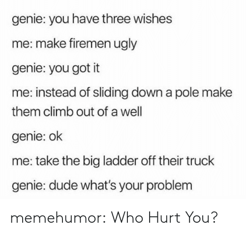 Who Hurt You: genie: you have three wishes  me: make firemen ugly  genie: you got it  me: instead of sliding down a pole make  them climb out of a well  genie: ok  me: take the big ladder off their truck  genie: dude what's your problem memehumor:  Who Hurt You?