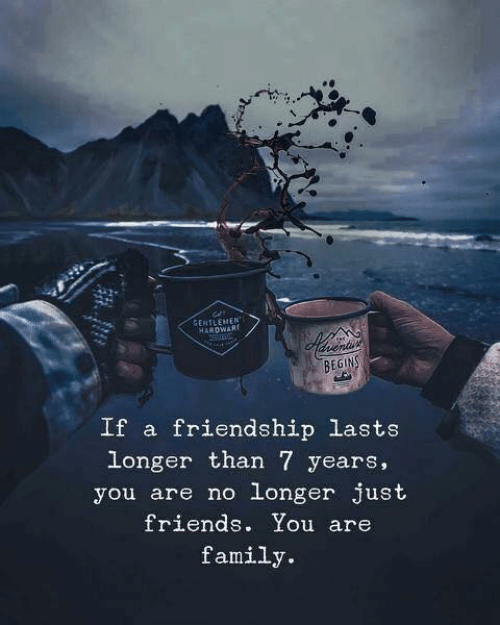 Family, Friends, and Friendship: GENTLEMEN  HARDWARE  BEGINS  If a friendship lasts  longer than 7 years,  you are no longer just  friends. You are  family