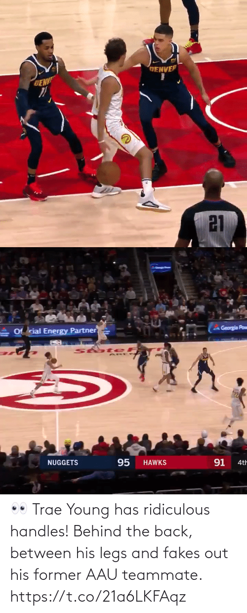 Energy: GENVER  DENV  21   Georgia Pow  Of rial Energy Partner  StateF  95  91  NUGGETS  HAWKS  4th 👀 Trae Young has ridiculous handles! Behind the back, between his legs and fakes out his former AAU teammate.   https://t.co/21a6LKFAqz