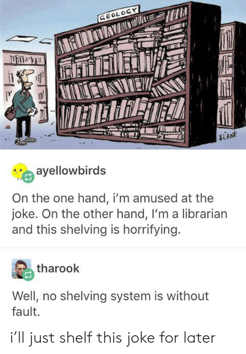 on the other hand: GEOLOGY  IETERRET  SLANE  ayellowbirds  On the one hand, i'm amused at the  joke. On the other hand, I'm a librarian  and this shelving is horrifying.  tharook  Well, no shelving system is without  fault. i'll just shelf this joke for later