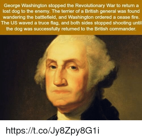 Fire, Lost, and George Washington: George Washington stopped the Revolutionary War to return a  lost dog to the enemy. The terrier of a British general was found  wandering the battlefield, and Washington ordered a cease fire.  The US waved a truce flag, and both sides stopped shooting until  the dog was successfully returned to the British commander. https://t.co/Jy8Zpy8G1i