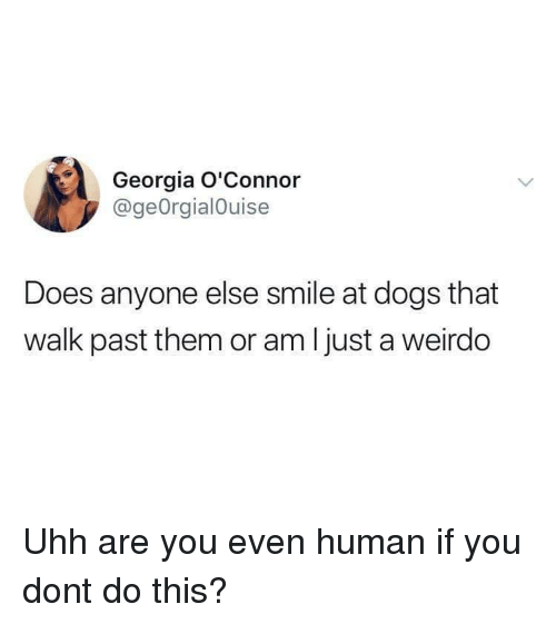 weirdo: Georgia O'Connor  @geOrgialOuise  Does anyone else smile at dogs that  walk past them or am Ijust a weirdo Uhh are you even human if you dont do this?