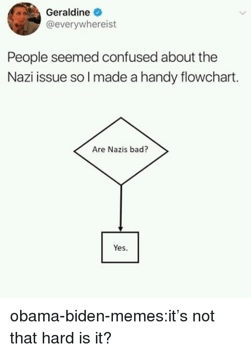 Obama Biden: Geraldine  @everywhereist  People seemed confused about the  Nazi issue so l made a handy flowchart.  Are Nazis bad?  Yes. obama-biden-memes:it's not that hard is it?