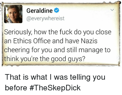 the good guy: Geraldine  hereist  Seriously, how the fuck do you close  an Ethics office and have Nazis  cheering for you and still manage to  think you're the good guys? That is what I was telling you before #TheSkepDick