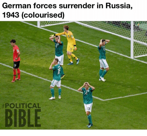 Memes, Russia, and 🤖: German forces surrender in Russia,  1943 (colourised)  23  POLITICAL  13