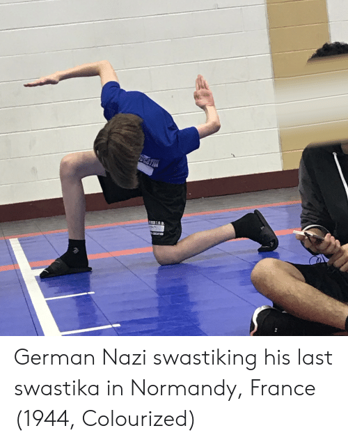 France, Nazi, and Swastika: German Nazi swastiking his last swastika in Normandy, France (1944, Colourized)