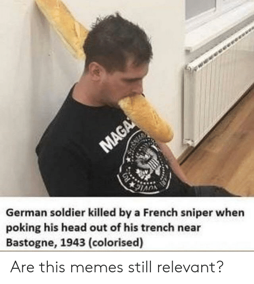 Head, Memes, and French: German soldier killed by a French sniper when  poking his head out of his trench near  Bastogne, 1943 (colorised) Are this memes still relevant?