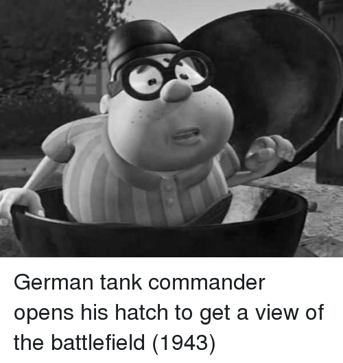 Battlefield, Tank, and German: German tank commander opens his hatch to get a view of the battlefield (1943)