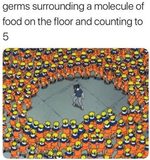 on the floor: germs surrounding a molecule of  food on the floor and counting to