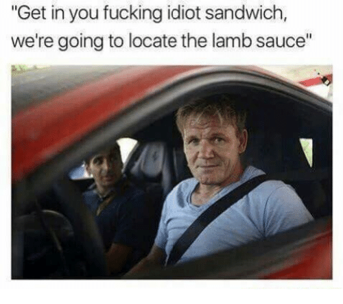 """Idiot Sandwich: """"Get in you fucking idiot sandwich,  we're going to locate the lamb sauce"""""""