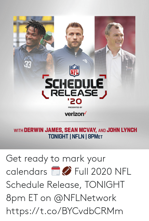 mark: Get ready to mark your calendars 🗓🏈  Full 2020 NFL Schedule Release, TONIGHT 8pm ET on  @NFLNetwork https://t.co/BYCvdbCRMm