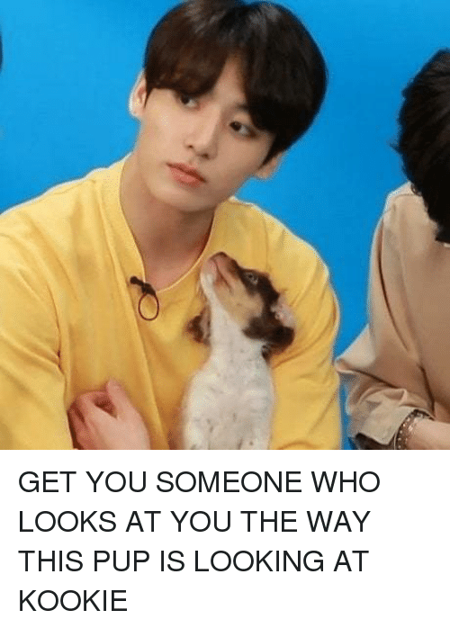 Kookie: GET YOU SOMEONE WHO LOOKS AT YOU THE WAY THIS PUP IS LOOKING AT KOOKIE