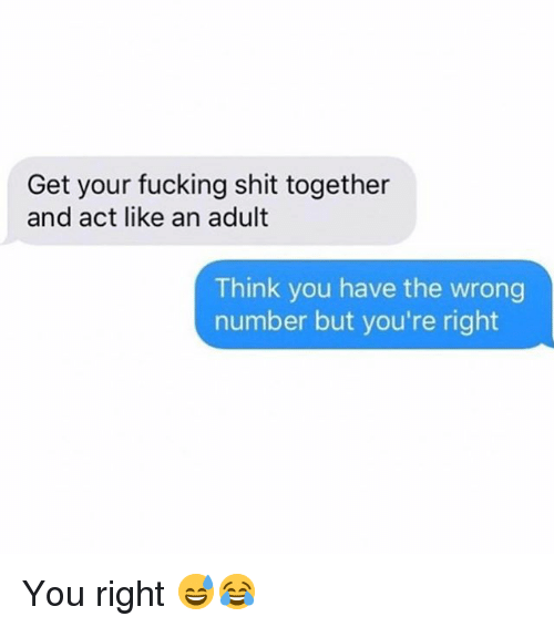 You Have The Wrong Number: Get your fucking shit together  and act like an adult  Think you have the wrong  number but you're right You right 😅😂