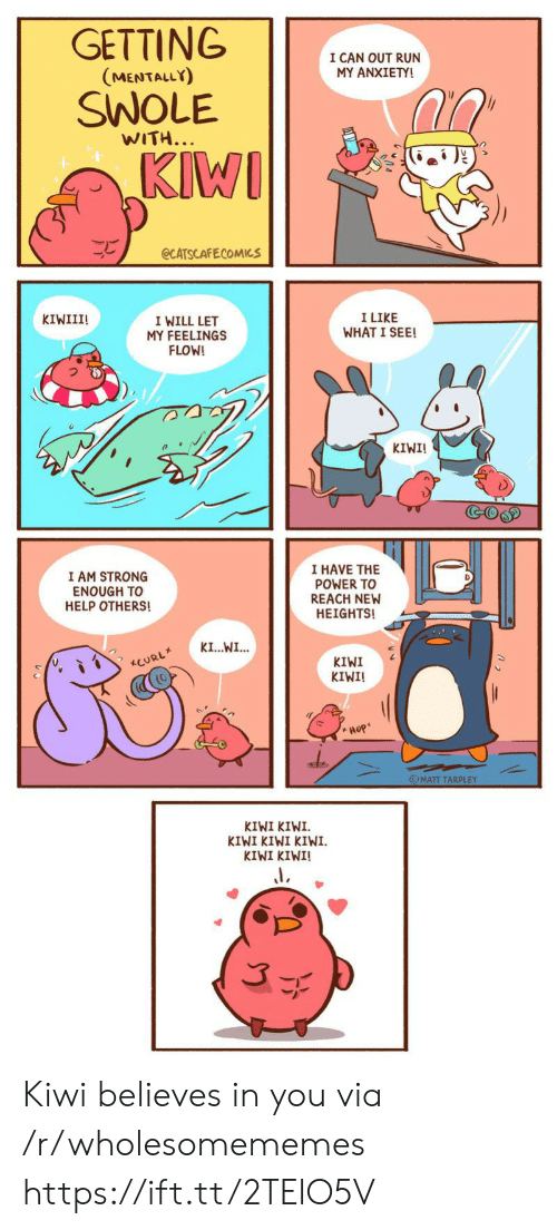 kiwi: GETTING  I CAN OUT RUN  MY ANXIETY!  (MENTALLY)  SWOLE  WITH...  KIWI  eCATSCAFECOMICS  I LIKE  WHAT I SEE!  KIWIII!  I WILL LET  MY FEELINGS  FLOW!  KIWI!  GOGD  I HAVE THE  POWER TO  REACH NEW  HEIGHTS!  I AM STRONG  ENOUGH TO  HELP OTHERS!  KI...WI...  KIWI  KIWI!  CURL  Hop  OMATT TARPLEY  KIWI KIWI  KIWI KIWI KIWI  KIWI KINI! Kiwi believes in you via /r/wholesomememes https://ift.tt/2TElO5V