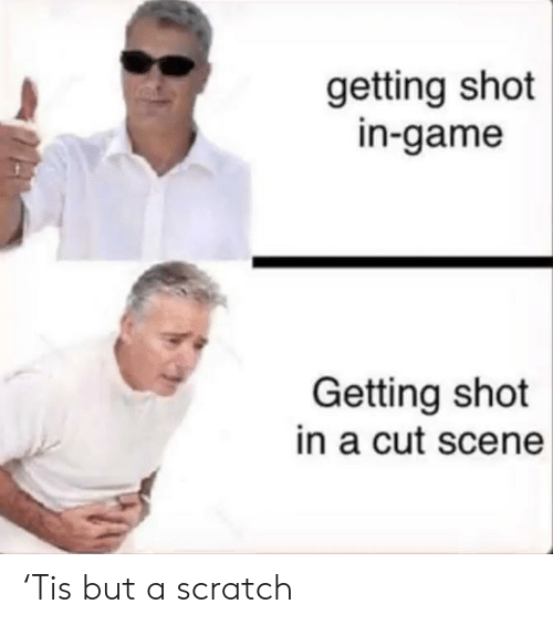 Game, Scratch, and Scene: getting shot  in-game  Getting shot  in a cut scene 'Tis but a scratch