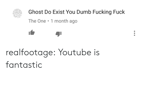Fucking Fuck: Ghost Do Exist You Dumb Fucking Fuck  The One.1 month ago realfootage:  Youtube is fantastic