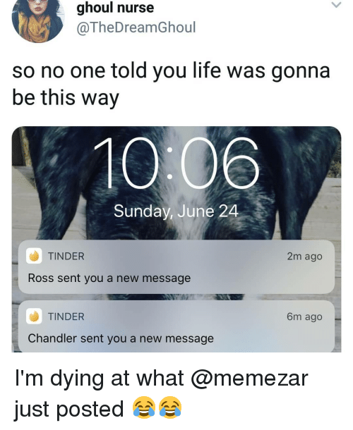 Life, Memes, and Tinder: ghoul nurse  @TheDreamGhoul  so no one told you life was gonna  be this way  10 06  Sunday, June 24  TINDER  2m ago  Ross sent you a new message  TINDER  6m ago  Chandler sent you a new message I'm dying at what @memezar just posted 😂😂