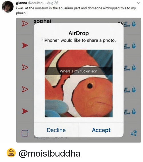 """acception: gianna @doubtou Aug 26  i was. at the museum in the aquarium part and domeone airdropped this to my  phoen i  sophai  AirDrop  """"iPhone"""" would like to share a photo.  Where's my fuckin son  Decline  Accept 😩 @moistbuddha"""