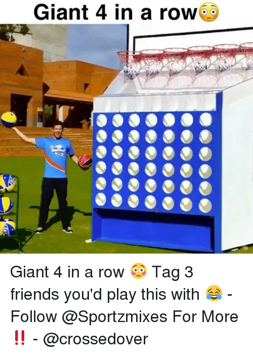 Rowing: Giant 4 in a row Giant 4 in a row 😳 Tag 3 friends you'd play this with 😂 - Follow @Sportzmixes For More‼️ - @crossedover