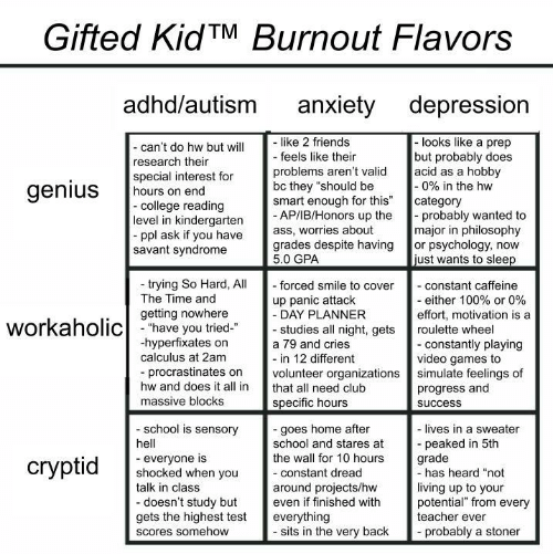 """hobby: Gifted KidTM Burnout Flavors  adhd/autism  anxiety depression  like 2 friends  - feels like their  -looks like a prep  but probably does  acid as a hobby  -0% in the hw  category  probably wanted to  major in philosophy  or psychology, now  just wants to sleep  - can't do hw but will  research their  special interest for  hours on end  -college reading  level in kindergarten  ppl ask if you have  savant syndrome  problems aren't valid  bc they """"should be  smart enough for this""""  - AP/IB/Honors up the  ass, worries about  grades despite having  5.0 GPA  genius  trying So Hard, All  The Time and  - forced smile to cover  - constant caffeine  - either 100% or 0%  effort, motivation is a  up panic attack  - DAY PLANNER  - studies all night, gets  getting nowhere  workaholichave you tried  roulette wheel  hyperfixates on  calculus at 2am  - constantly playing  video games to  simulate feelings of  progress and  a 79 and cries  - in 12 different  volunteer organizations  procrastinates on  hw and does it all in  that all need club  massive blocks  specific hours  success  school is sensory  -goes home after  school and stares at  the wall for 10 hours  - lives in a sweater  peaked in 5th  grade  -has heard """"not  hell  everyone is  shocked when you  talk in class  сryptid  -constant dread  living up to your  potential"""" from every  teacher ever  around projects/hw  even if finished with  -doesn't study but  gets the highest test  everything  - sits in the very back  probably a stoner  Scores somehow"""