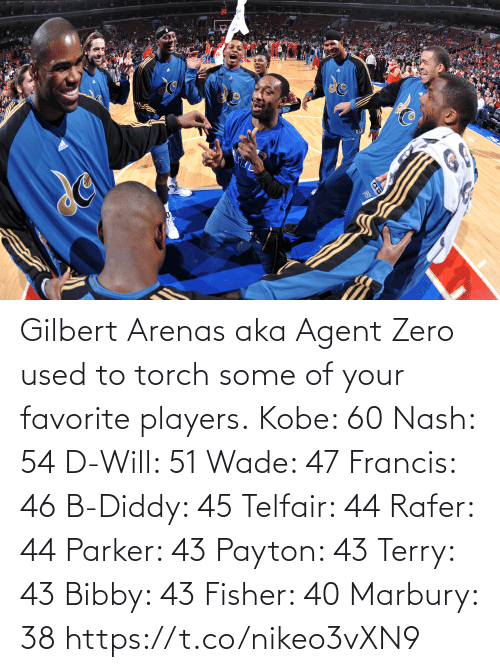 Kobe: Gilbert Arenas aka Agent Zero used to torch some of your favorite players.  Kobe: 60 Nash: 54 D-Will: 51 Wade: 47 Francis: 46 B-Diddy: 45 Telfair: 44 Rafer: 44 Parker: 43 Payton: 43 Terry: 43 Bibby: 43 Fisher: 40 Marbury: 38   https://t.co/nikeo3vXN9