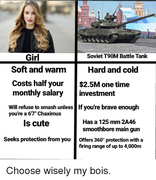 "Cute, Smashing, and Brave: Girl  Soviet T90M Battle Tank  Soft and warm  Costs half your $2.5M one time  monthly salary investment  Will refuse to smash unless If you're brave enough  Hard and cold  67"" Chaximu:s  Is cute  youre a  Has a 125 mm 2A46  smoothbore main gun  Seeks protection from you offers 360° protection with a  firing range of up to 4,000m"