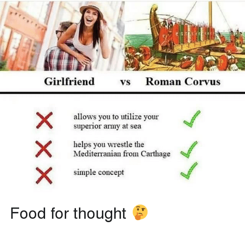 utilize: Girlfriend vs Roman Corvus  allows you to utilize your  superior army at sea  helps you wrestle the  Mediterranian  from Carthage  simple concept Food for thought 🤔