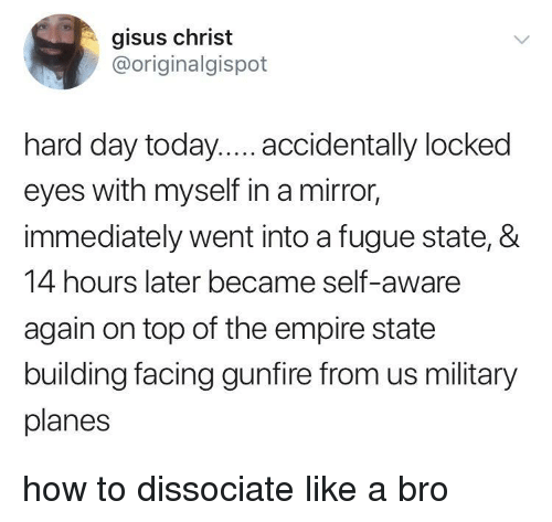 us military: gisus christ  @originalgispot  hard day today.... accidentally locked  eyes with myself in a mirror,  immediately went into a fugue state, &  14 hours later became self-aware  again on top of the empire state  building facing gunfire from us military  planes how to dissociate like a bro
