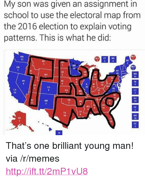 """2016 Election: given  assignment  in  My son was an  school to use the electoral map from  the 2016 election to explain voting  patterns. This is what he did:  @繇묘  OR  NY  SD  NV  IN  20 11  18  co  KS  CT  曰  NJ  14  NM  MS  DE  AK  10  DC  HI <p>That&rsquo;s one brilliant young man! via /r/memes <a href=""""http://ift.tt/2mP1vU8"""">http://ift.tt/2mP1vU8</a></p>"""
