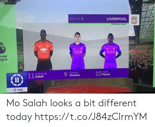 salah: GK 4 33  LIVERPOOL  Starting Lineup  hntii  mier  gue  Firmino  Sadio  Mané  Roberto  Mohamed  Salah  0 min Mo Salah looks a bit different today https://t.co/J84zClrmYM