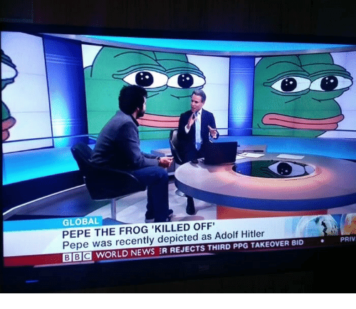 Pepe the Frog: GLOBAL  PEPE THE FROG 'KILLED OFF  Pepe was recently depicted as Adolf Hitler  BE WORLD NEWS :R REJECTS THIRD PPG TAKEOVER BID  PRIV  .