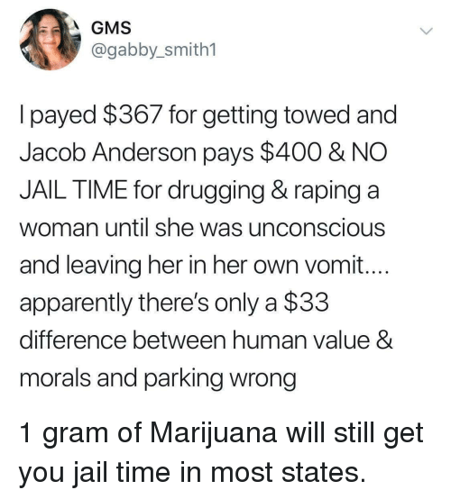 gms: GMS  @gabby_smith1  lpayed $367 for getting towed and  Jacob Anderson pays $400 & NO  JAIL TIME for drugging & raping a  woman until she was unconscious  and leaving her in her own vomit...  apparently there's only a $33  difference between human value 8  morals and parking wrong 1 gram of Marijuana will still get you jail time in most states.
