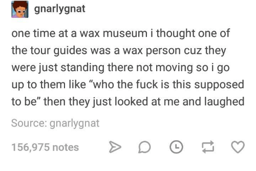 """Fuck, Time, and Humans of Tumblr: gnarlygnat  one time at a wax museum i thought one of  the tour guides was a wax person cuz they  were just standing there not moving so i go  up to them like """"who the fuck is this supposed  to be"""" then they just looked at me and laughed  Source: gnarlygnat  156,975 notes D"""