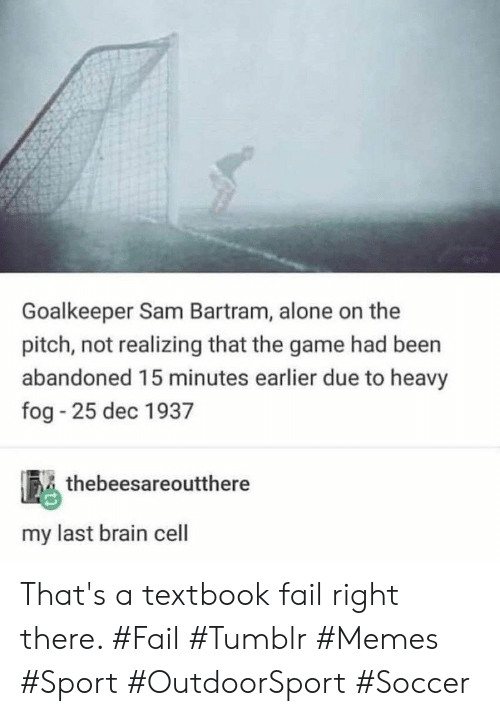 Being Alone, Fail, and Memes: Goalkeeper Sam Bartram, alone on the  pitch, not realizing that the game had been  abandoned 15 minutes earlier due to heavy  fog 25 dec 1937  thebeesareoutthere  my last brain cell That's a textbook fail right there. #Fail #Tumblr #Memes #Sport #OutdoorSport #Soccer