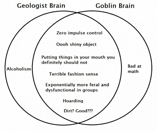 Bad, Definitely, and Fashion: Goblin Brain  Geologist Brain  Zero impulse control  Oooh shiny object  Putting things in your mouth you  definitely should not  Bad at  Alcoholism  math  Terrible fashion sense  Exponentially more feral and  dysfunctional in groups  Hoarding  Dirt? Good???