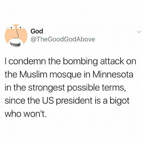 Thegoodgodabove: God  @TheGoodGodAbove  I condemn the bombing attack on  the Muslim mosque in Minnesota  in the strongest possible terms,  since the US president is a bigot  who won't.