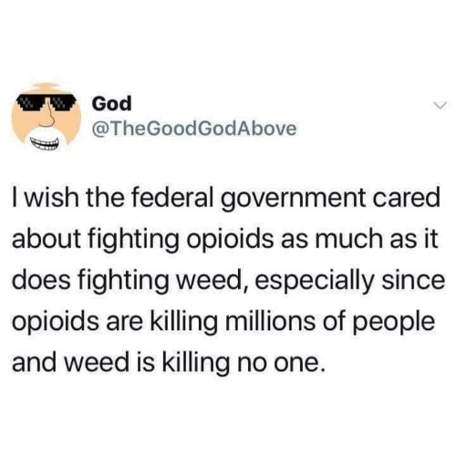 Thegoodgodabove: God  @TheGoodGodAbove  I wish the federal government cared  about fighting opioids as much as it  does fighting weed, especially since  opioids are killing millions of people  and weed is killing no one.