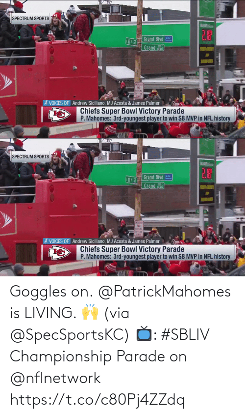 Championship: Goggles on.  @PatrickMahomes is LIVING. 🙌 (via @SpecSportsKC)  📺: #SBLIV Championship Parade on @nflnetwork https://t.co/c80Pj4ZZdq