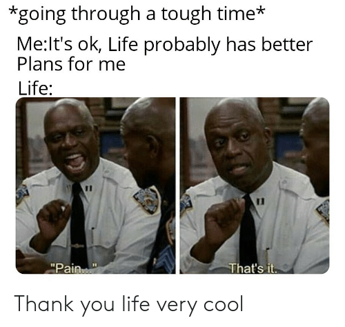 "Life, Thank You, and Cool: *going through a tough time*  Me:It's ok, Life probably has better  Plans for me  Life:  11  That's it  ""Pain Thank you life very cool"